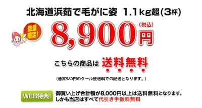 カニ本舗「北海道浜茹で毛がに姿約1.1kg(3杯)」の値段8900円